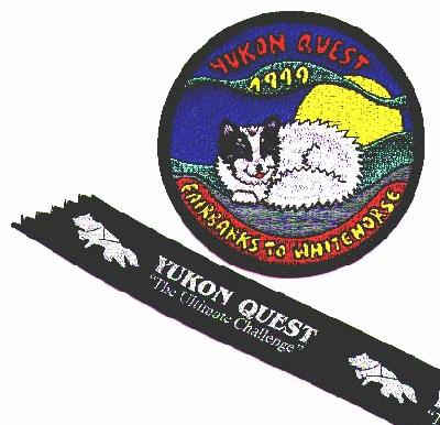 Yukon Quest 1999 jacket patch,  with a sled dog that looks like Nanook, and Nanook's Yukon Quest ribbon
