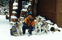 The Three Stooges - Alden West with his huskies Tuk and Toolie